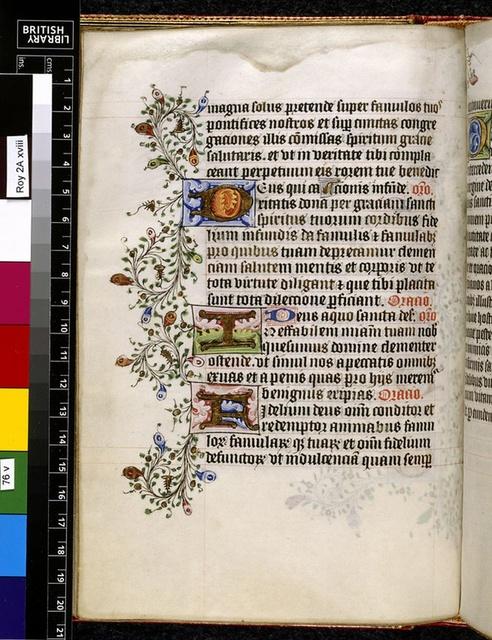 Illuminated initials from BL Royal 2 A XVIII, f. 76v
