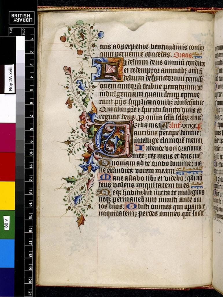 Illuminated initials from BL Royal 2 A XVIII, f. 80v