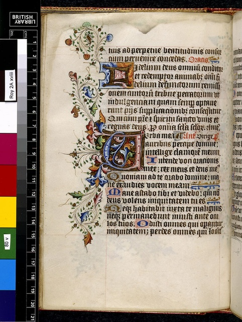 Illuminated initials from BL Royal 2 A XVIII, f. 80v