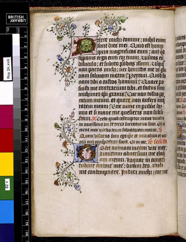 Illuminated initials from BL Royal 2 A XVIII, f. 82v