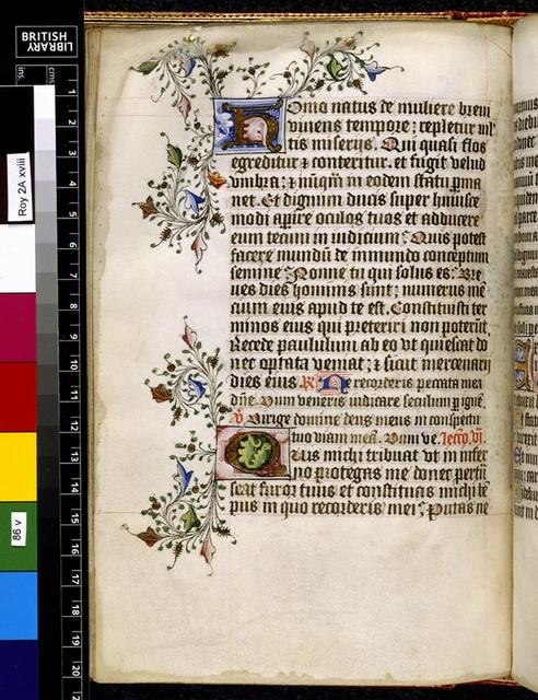 Illuminated initials from BL Royal 2 A XVIII, f. 86v