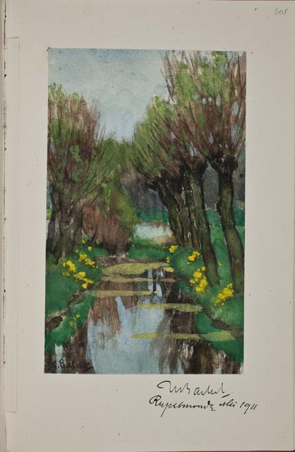 Illustratie / door Syvert Nicolaas Bastert (1854-1939), kunstenaar, in het autografenalbum van Rudolf Hugo Driessen (1873-1946) en Caroline Driessen-Kleyn (1883-1938)