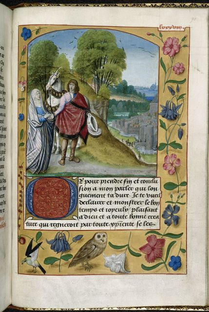 Imagination and the knight from BL Royal 19 C VIII, f. 90