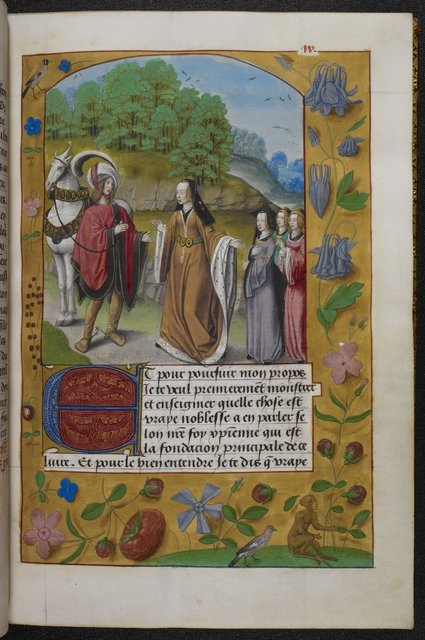 Imagination introducing the knight to the three Virtues from BL Royal 19 C VIII, f. 11
