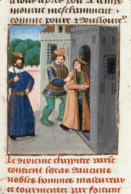 Imprisonment of Robert of Normandy from BL Royal 14 E V, f. 476