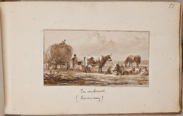 """""""In den bouw"""", koeien en een hooiwagen op platteland / door [Jan van] Ravenswaay (1789-1869)"""