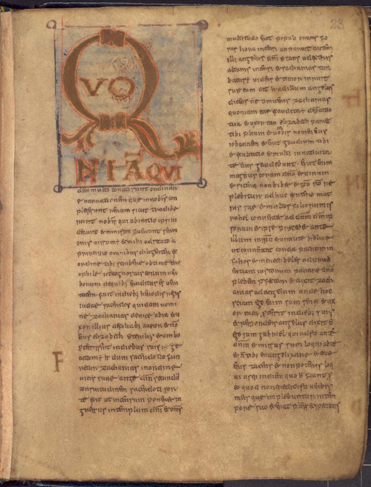Incipit of Luke's Gospel from BL Add 40618, f. 23