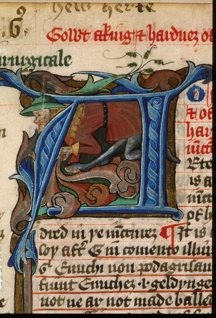 Inhabited initial from BL Harley 5915, f. 25