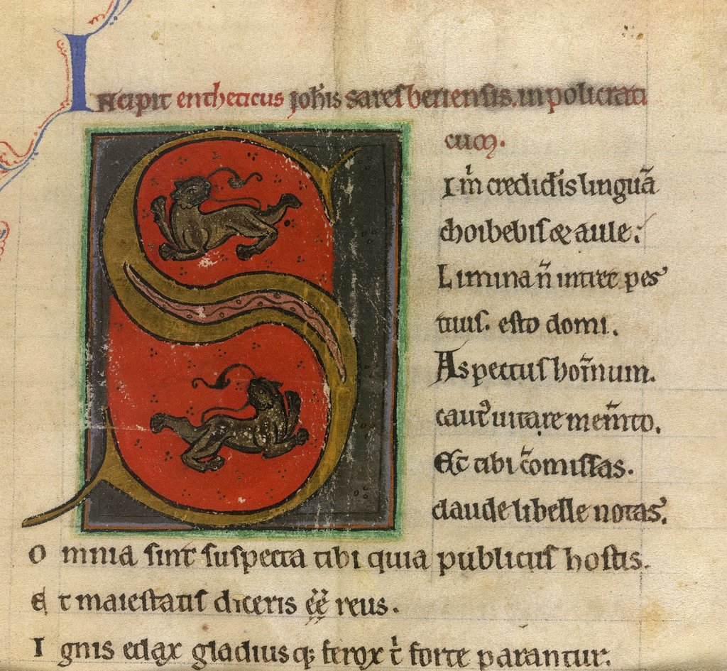 Inhabited initial from BL Royal 13 D IV, f. 2