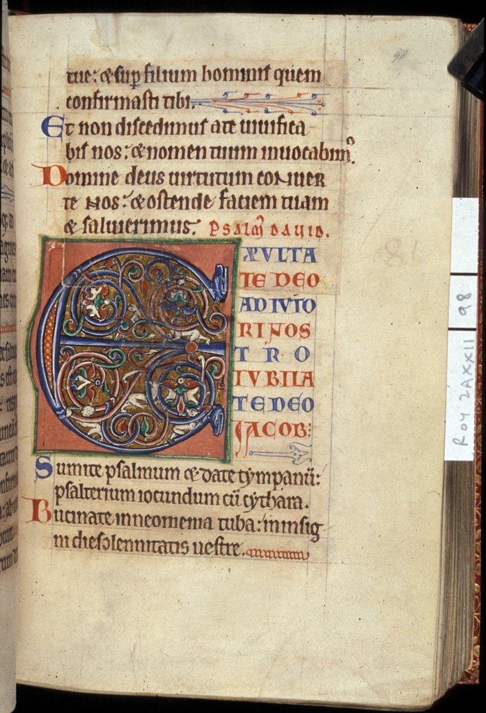 Inhabited initial from BL Royal 2 A XXII, f. 98