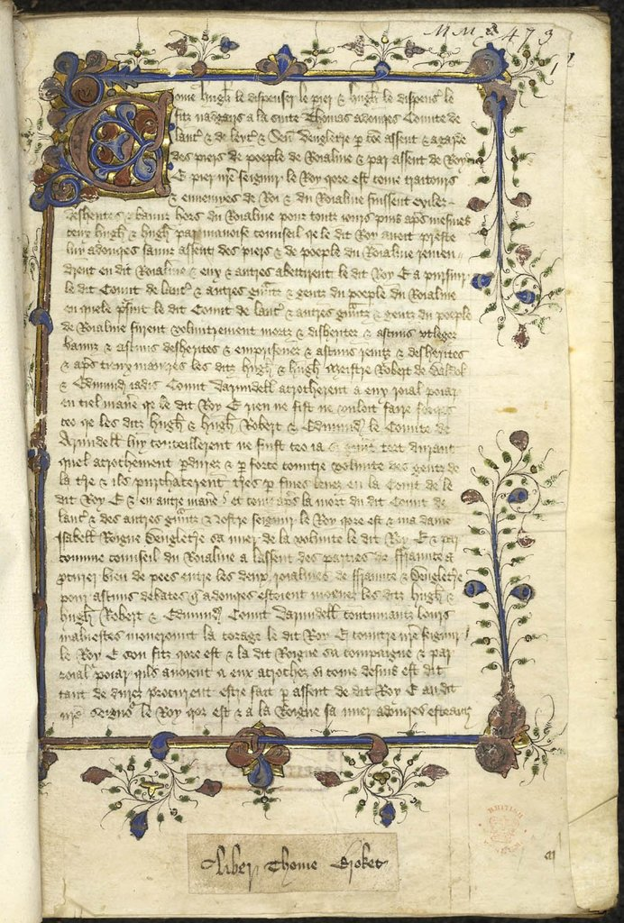 Initial and border from BL Lansdowne 469, f. 1