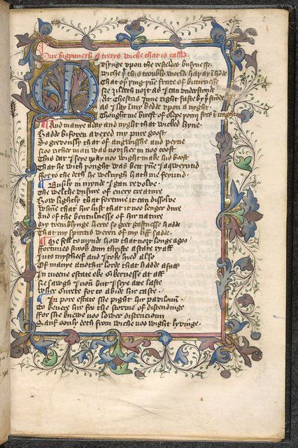 Initial and border from BL Sloane 1825, f. 2