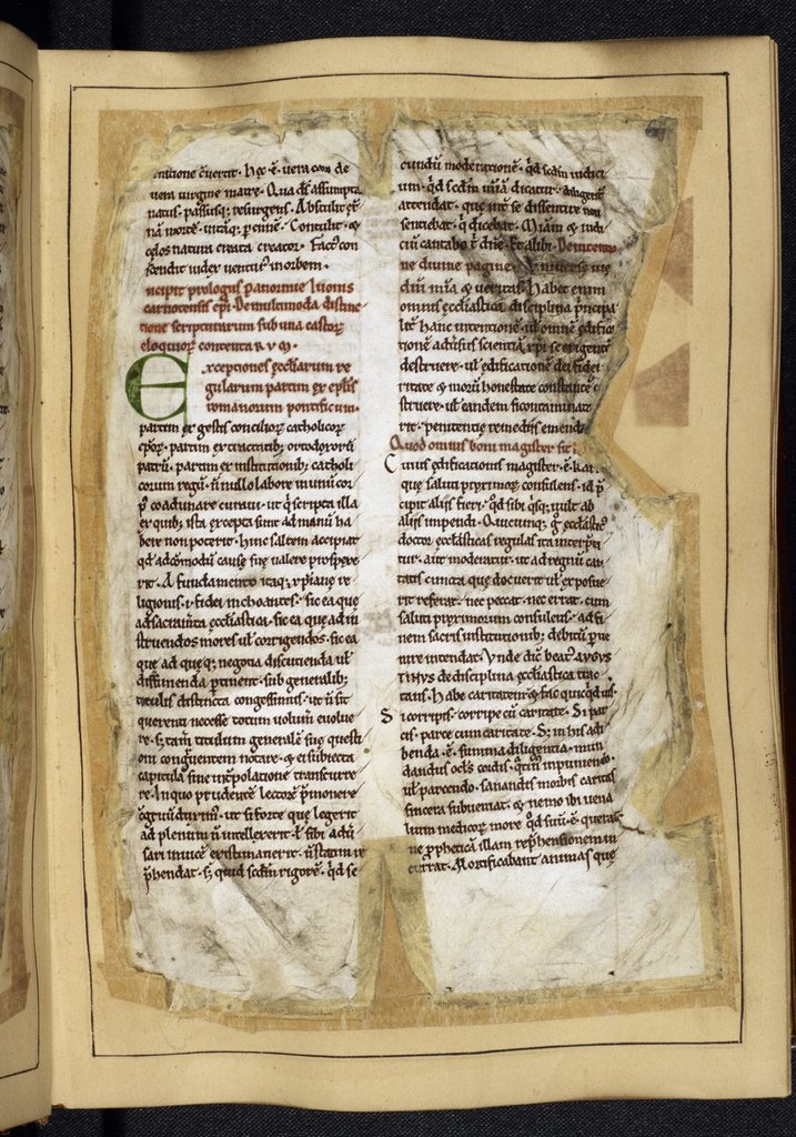 Initial 'E' (xceptionis) from BL Royal 10 A VIII, f. 6