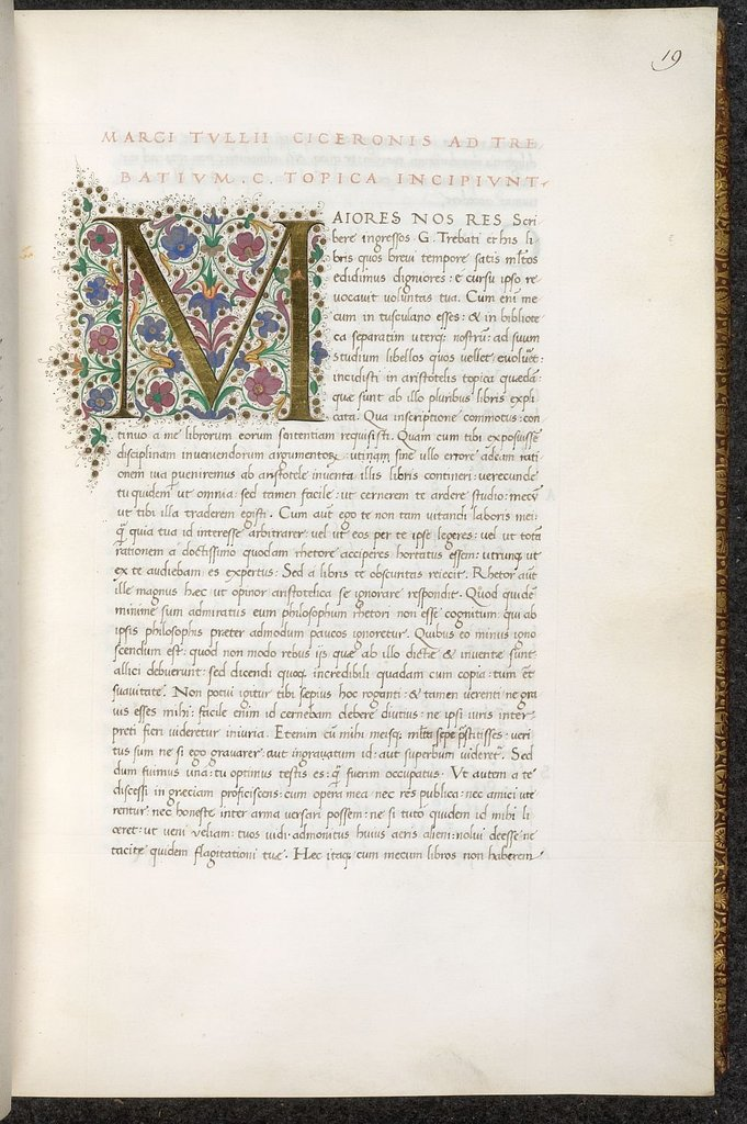 Initial from BL Lansdowne 842, vol. 1, f. 19