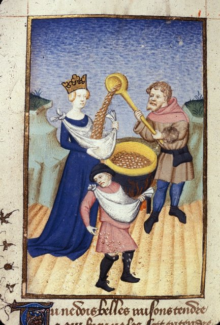 Ino sowing boiled corn from BL Harley 4431, f. 140v