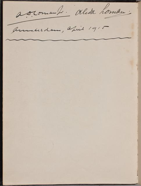 Inscriptie / van A[braham] D[irk] Loman jr. (1868-1954), componist, voor Louise Westermann-Heinze (1837-1929)