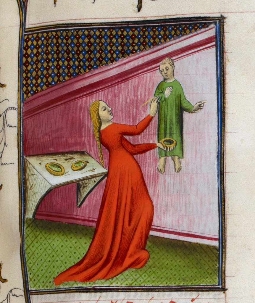Irene painting a picture from BL Royal 20 C V, f. 96