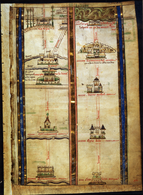 Itinerary to Jerusalem from BL Royal 14 C VII, f. 3