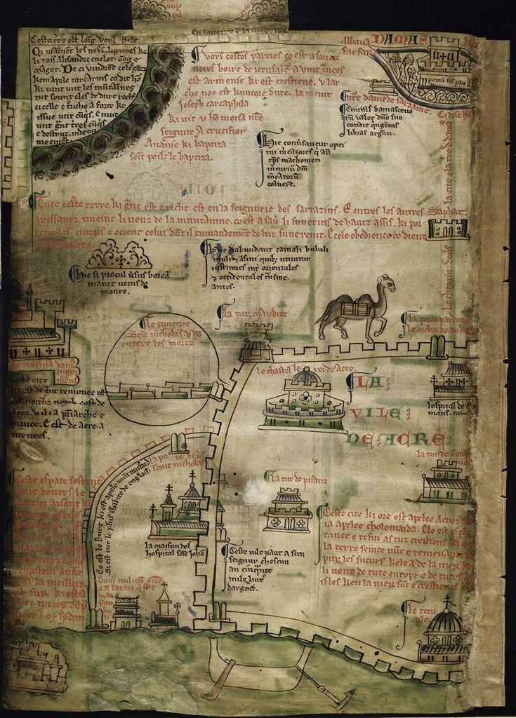 Itinerary to Jerusalem from BL Royal 14 C VII, f. 4v