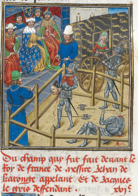 Jacques le Gris and Jean de Carrouges from BL Royal 14 E IV, f. 267v