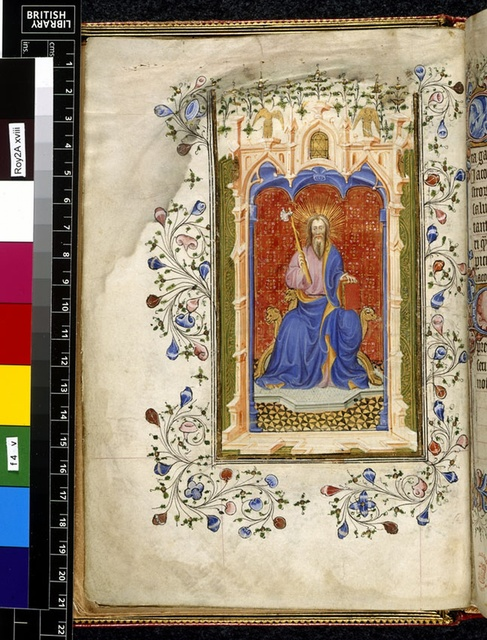 James enthroned from BL Royal 2 A XVIII, f. 4v