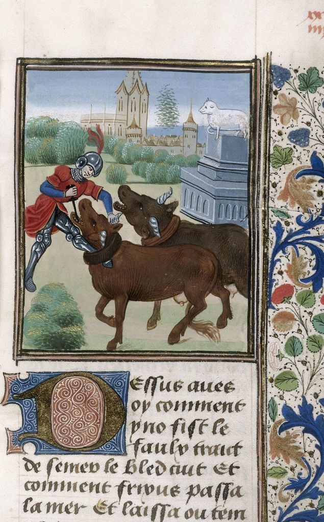 Jason yoking the oxen from BL Royal 17 E IV, f. 102
