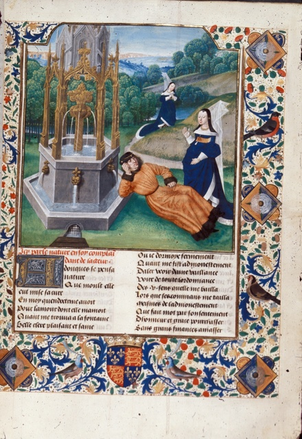 Jean de Courcy and Nature from BL Royal 14 E II, f. 77