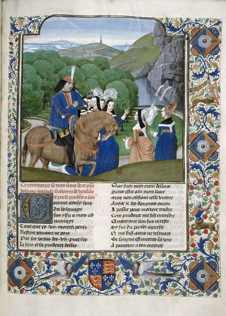 Jean de Courcy and the Virtues from BL Royal 14 E II, f. 194
