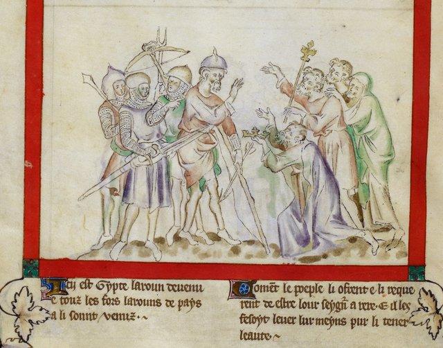 Jepthah as leader from BL Royal 2 B VII, f. 40v