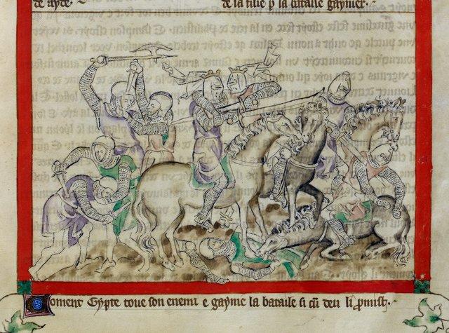 Jepthah winning a battle from BL Royal 2 B VII, f. 41