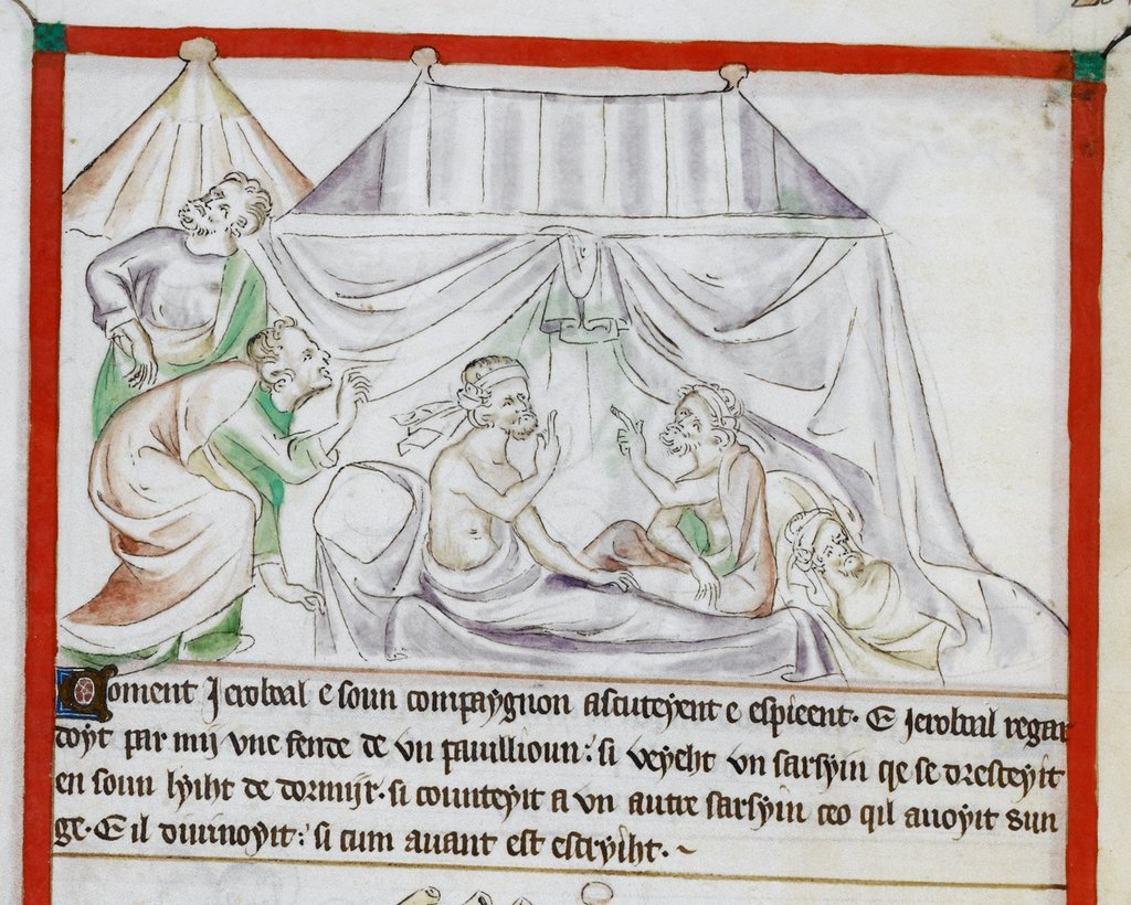 Jerubbaal and servant from BL Royal 2 B VII, f. 34v