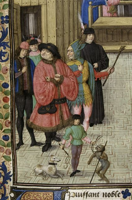 Jester and monkey from BL Royal 14 E V, f. 5