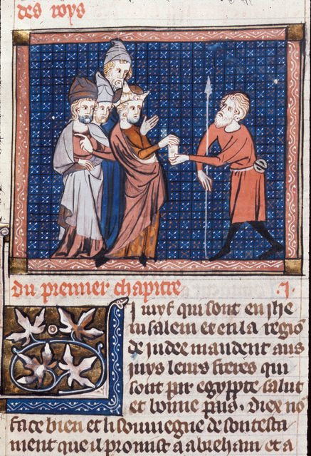 Jews receiving a letter from BL Royal 18 D VIII, f. 17v