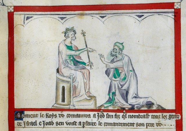 Joab before David from BL Royal 2 B VII, f. 62