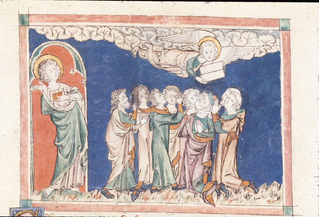John and angel from BL Royal 19 B XV, f. 26