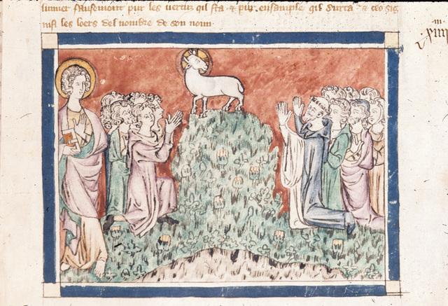 John and lamb from BL Royal 19 B XV, f. 25