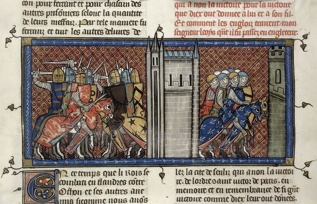 John of England and Louis VIII from BL Royal 16 G VI, f. 385