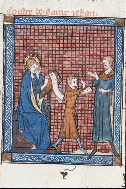 John sending a letter from BL Royal 18 D VIII, f. 160v