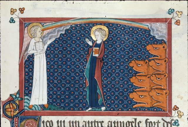 John, the angel, a rainbow and seven thunders from BL Royal 15 D II, f. 144