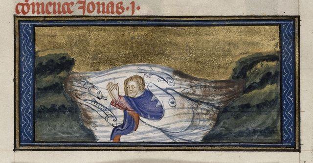 Jonah from BL Royal 19 D II, f. 395
