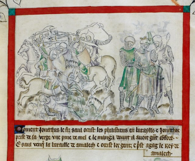 Jonathan killing Philistines from BL Royal 2 B VII, f. 51