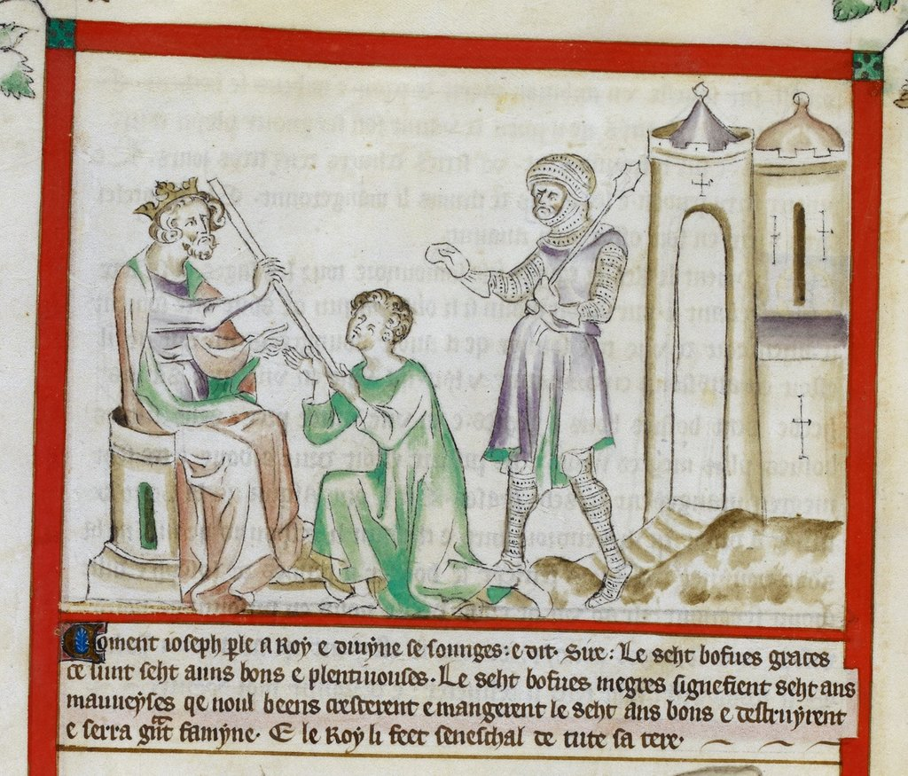 Joseph as overseer from BL Royal 2 B VII, f. 17v