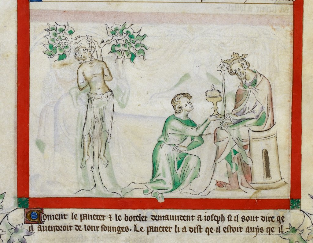 Joseph interpreting dreams from BL Royal 2 B VII, f. 16v