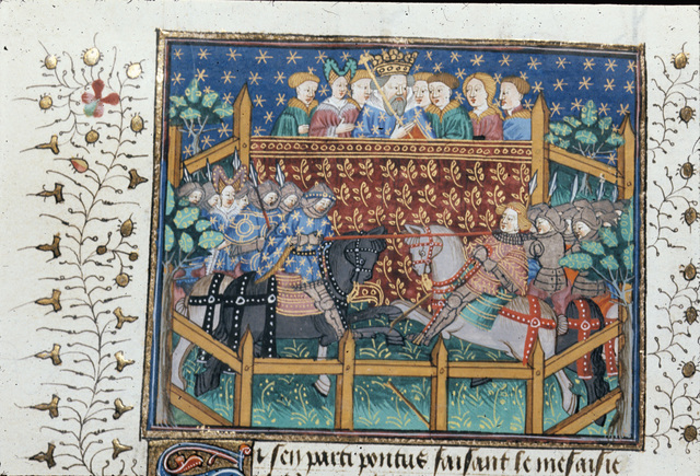 Joust between Ponthus and the Duke of Burgundy from BL Royal 15 E VI, f. 220v