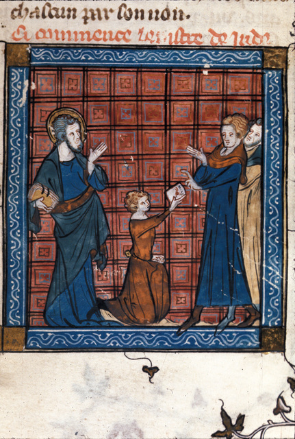 Jude sending a letter from BL Royal 18 D VIII, f. 163