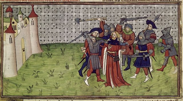 Killing of the bailiff from BL Royal 20 C VII, f. 212