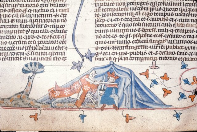 King attacked by knight from BL Royal 10 E IV, f. 85v