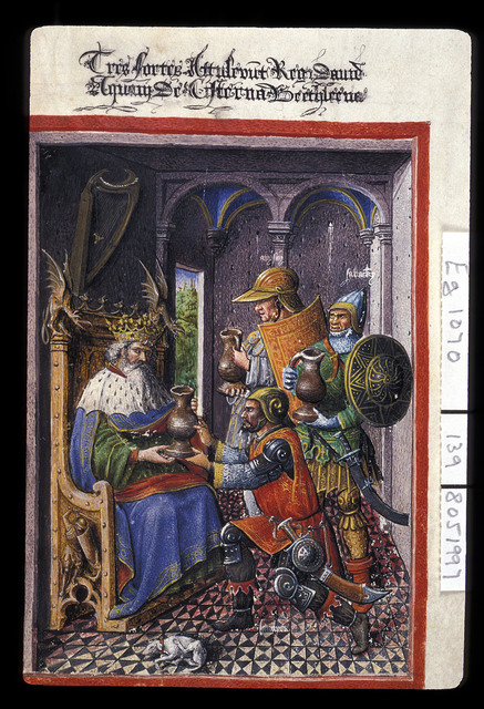 King David and the three heroes from BL Eg 1070, f. 139
