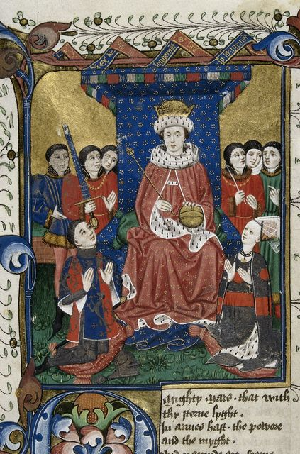 King enthroned from BL Royal 18 D II, f. 6