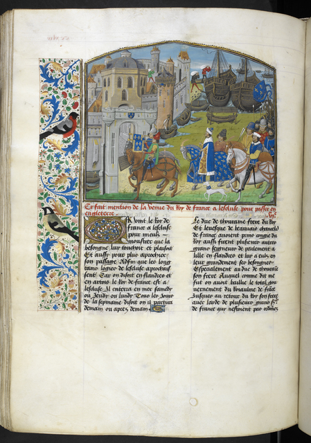 King of France arriving at Sluys from BL Royal 14 E IV, f. 258v